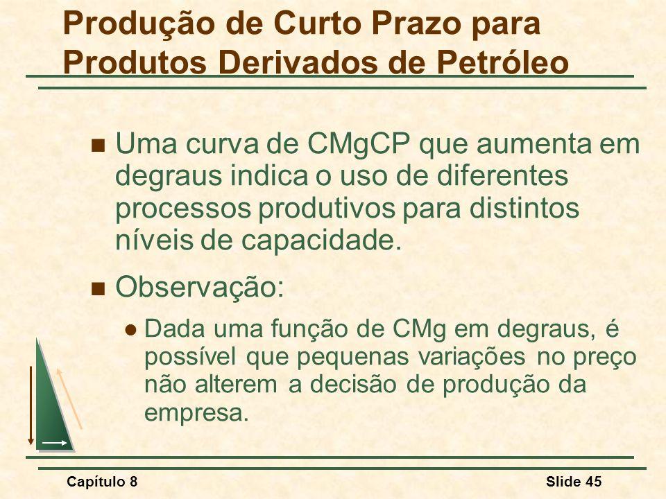 Capítulo 8Slide 45 Uma curva de CMgCP que aumenta em degraus indica o uso de diferentes processos produtivos para distintos níveis de capacidade.