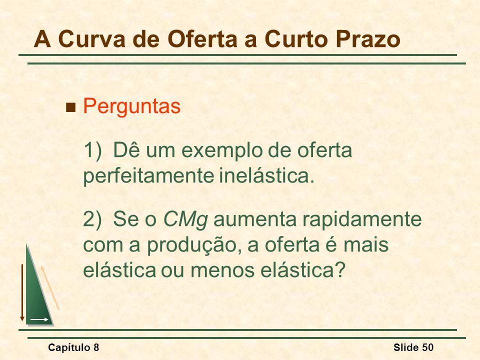 Capítulo 8Slide 50 Perguntas 1)Dê um exemplo de oferta perfeitamente inelástica.