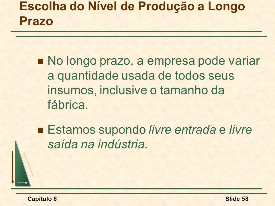 Capítulo 8Slide 58 Escolha do Nível de Produção a Longo Prazo No longo prazo, a empresa pode variar a quantidade usada de todos seus insumos, inclusive o tamanho da fábrica.