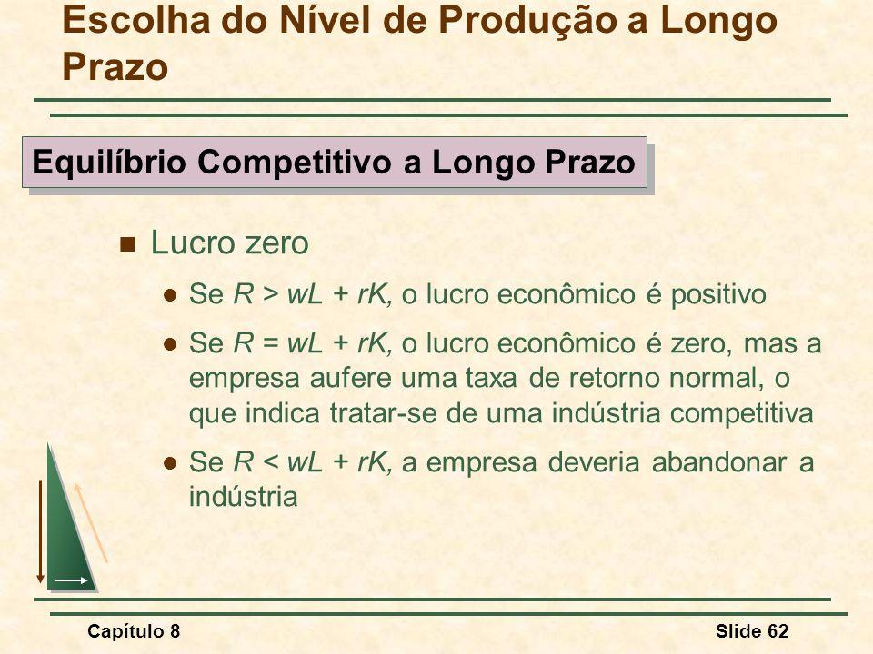 Capítulo 8Slide 62 Escolha do Nível de Produção a Longo Prazo Lucro zero Se R > wL + rK, o lucro econômico é positivo Se R = wL + rK, o lucro econômico é zero, mas a empresa aufere uma taxa de retorno normal, o que indica tratar-se de uma indústria competitiva Se R < wL + rK, a empresa deveria abandonar a indústria Equilíbrio Competitivo a Longo Prazo