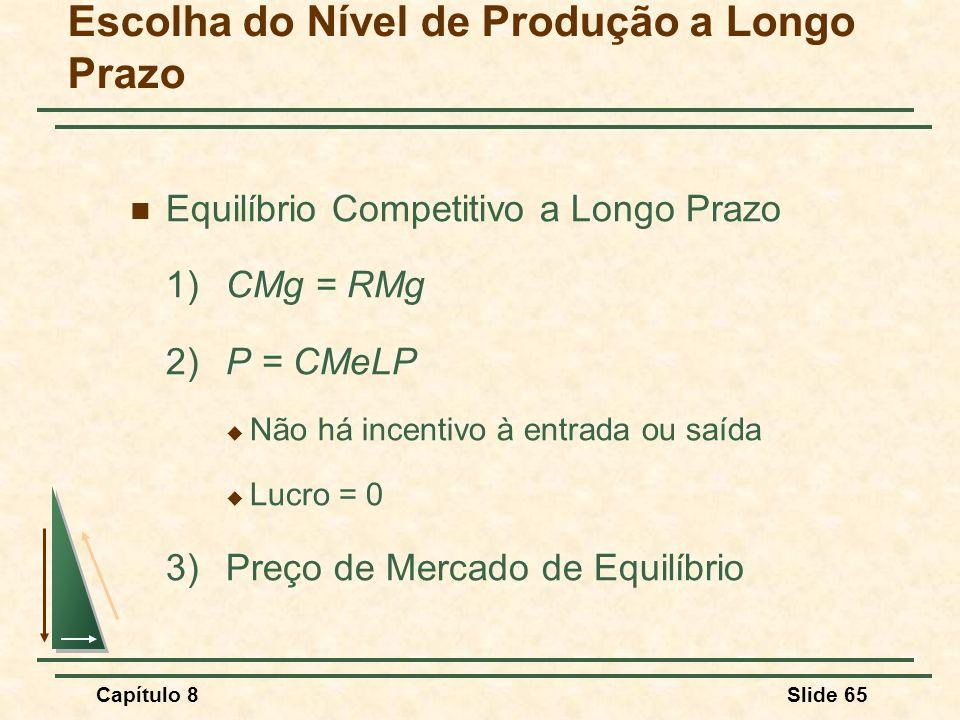 Capítulo 8Slide 65 Escolha do Nível de Produção a Longo Prazo Equilíbrio Competitivo a Longo Prazo 1) CMg = RMg 2)P = CMeLP Não há incentivo à entrada ou saída Lucro = 0 3) Preço de Mercado de Equilíbrio