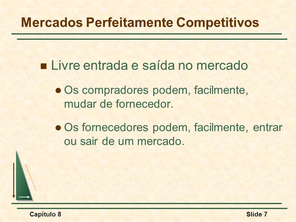 Capítulo 8Slide 7 Mercados Perfeitamente Competitivos Livre entrada e saída no mercado Os compradores podem, facilmente, mudar de fornecedor.
