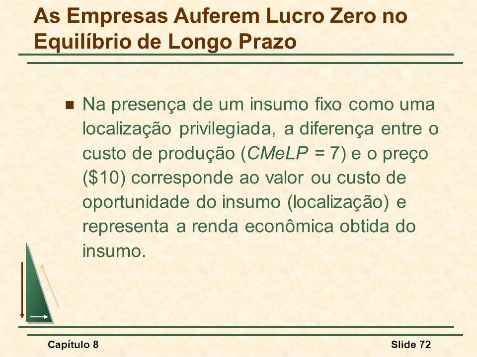 Capítulo 8Slide 72 Na presença de um insumo fixo como uma localização privilegiada, a diferença entre o custo de produção (CMeLP = 7) e o preço ($10) corresponde ao valor ou custo de oportunidade do insumo (localização) e representa a renda econômica obtida do insumo.