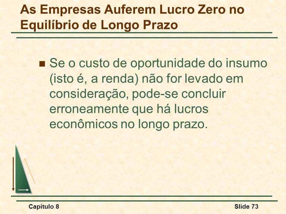 Capítulo 8Slide 73 Se o custo de oportunidade do insumo (isto é, a renda) não for levado em consideração, pode-se concluir erroneamente que há lucros econômicos no longo prazo.