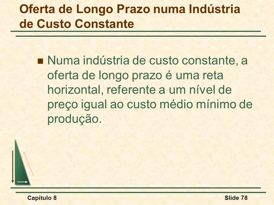 Capítulo 8Slide 78 Numa indústria de custo constante, a oferta de longo prazo é uma reta horizontal, referente a um nível de preço igual ao custo médio mínimo de produção.