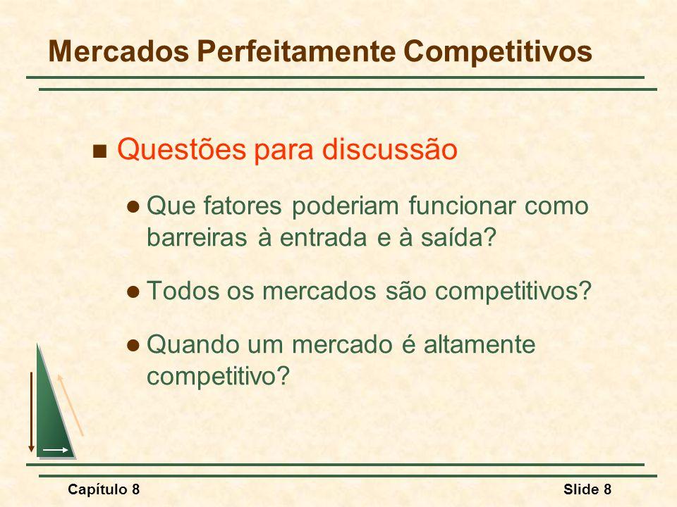 Capítulo 8Slide 8 Mercados Perfeitamente Competitivos Questões para discussão Que fatores poderiam funcionar como barreiras à entrada e à saída.