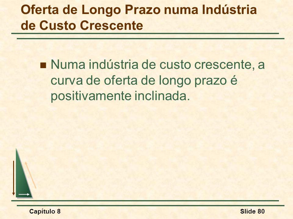 Capítulo 8Slide 80 Numa indústria de custo crescente, a curva de oferta de longo prazo é positivamente inclinada.