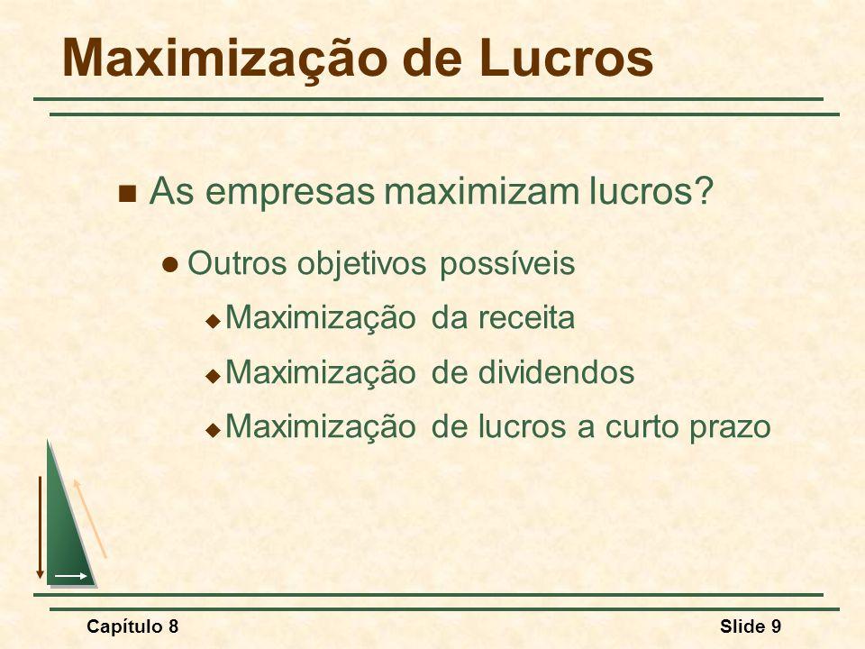 Capítulo 8Slide 9 Maximização de Lucros As empresas maximizam lucros.