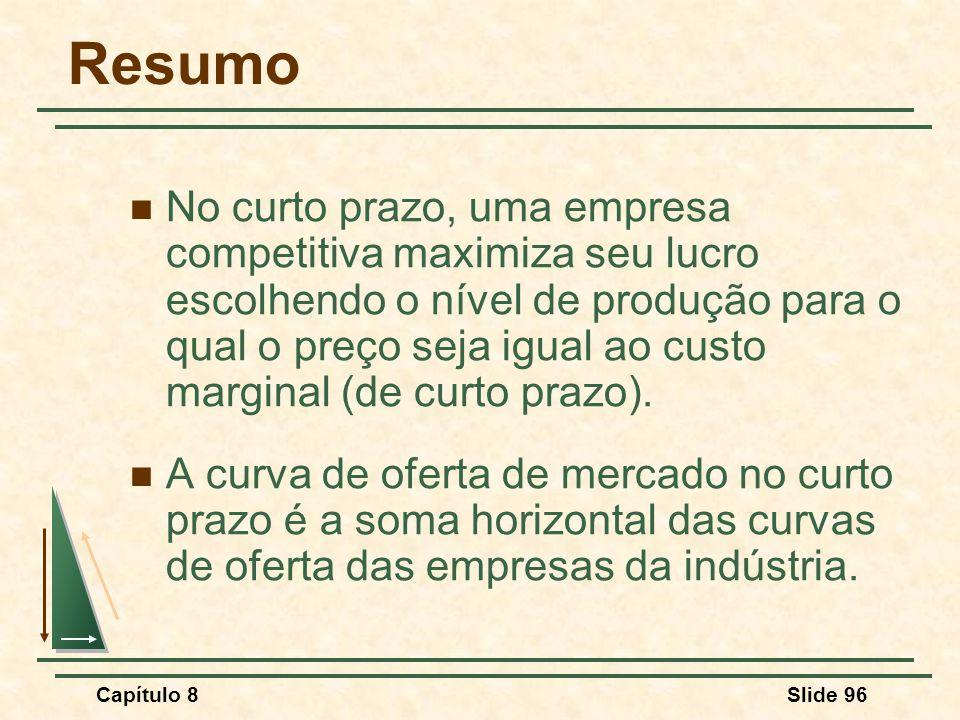 Capítulo 8Slide 96 Resumo No curto prazo, uma empresa competitiva maximiza seu lucro escolhendo o nível de produção para o qual o preço seja igual ao custo marginal (de curto prazo).