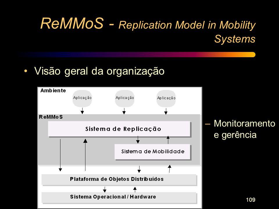 109 ReMMoS - Replication Model in Mobility Systems Visão geral da organização –Monitoramento e gerência