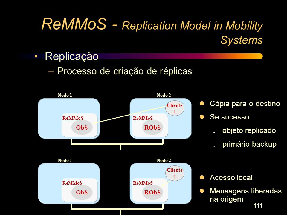 111 ReMMoS - Replication Model in Mobility Systems lCópia para o destino lSe sucesso l objeto replicado l primário-backup ObS ReMMoS Nodo 1Nodo 2 Clie