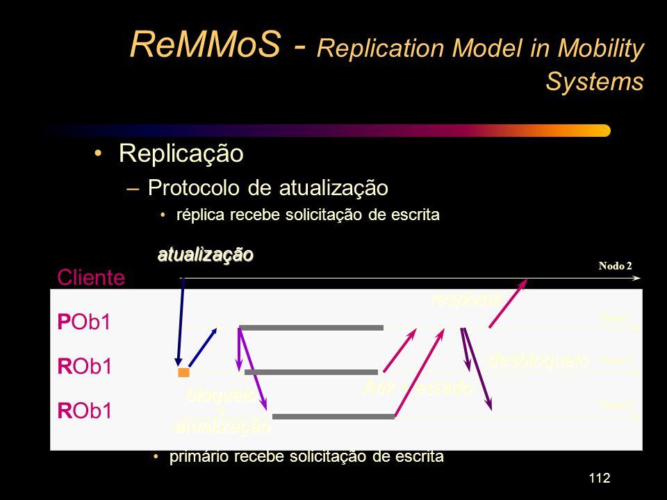 112 ReMMoS - Replication Model in Mobility Systems Cliente POb1 ROb1 atualização Ack + estado bloqueio+atualização resposta desbloqueio Nodo 2 Nodo 1