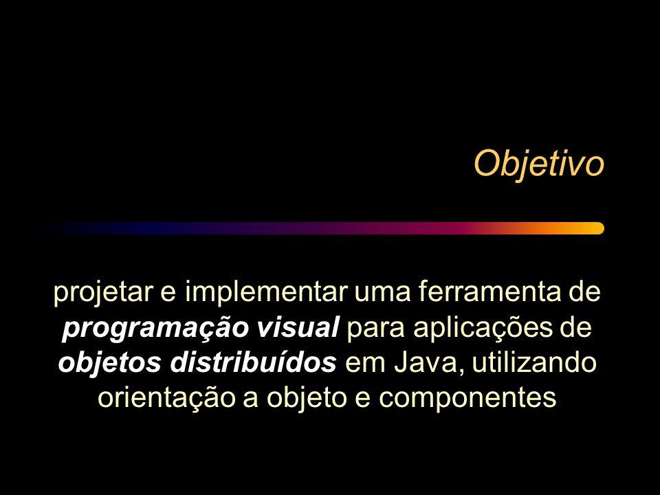 Objetivo projetar e implementar uma ferramenta de programação visual para aplicações de objetos distribuídos em Java, utilizando orientação a objeto e