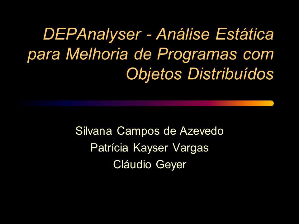 DEPAnalyser - Análise Estática para Melhoria de Programas com Objetos Distribuídos Silvana Campos de Azevedo Patrícia Kayser Vargas Cláudio Geyer