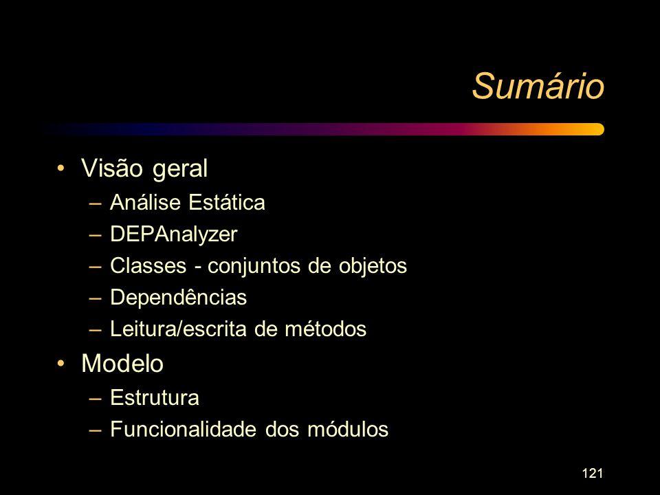 121 Sumário Visão geral –Análise Estática –DEPAnalyzer –Classes - conjuntos de objetos –Dependências –Leitura/escrita de métodos Modelo –Estrutura –Fu