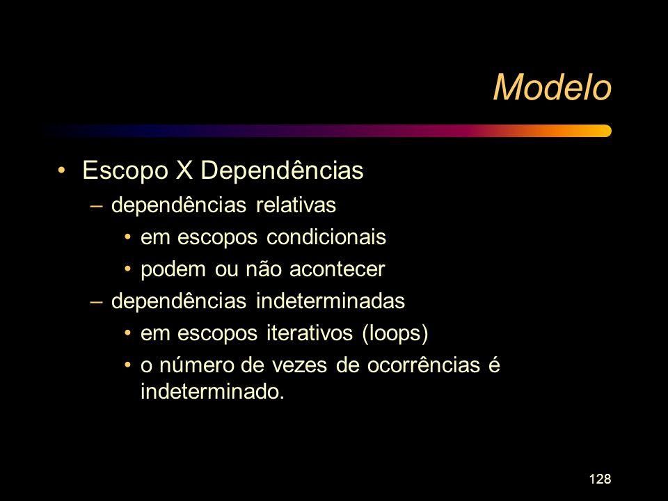 128 Modelo Escopo X Dependências –dependências relativas em escopos condicionais podem ou não acontecer –dependências indeterminadas em escopos iterat