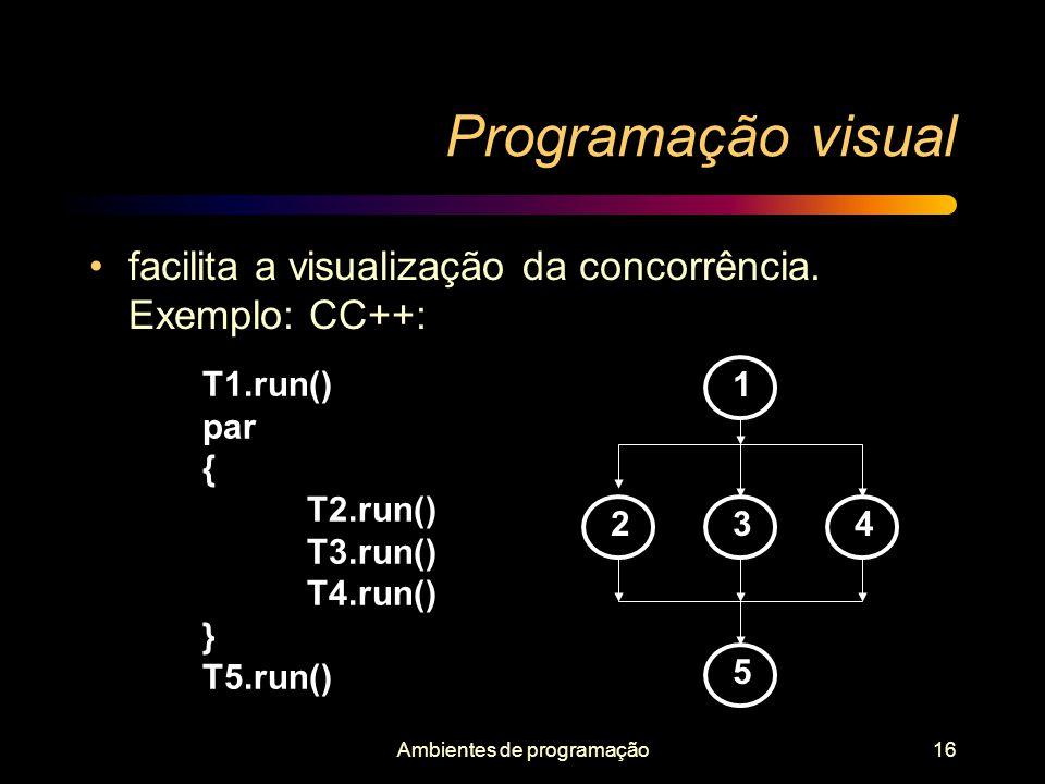 Ambientes de programação16 Programação visual facilita a visualização da concorrência. Exemplo: CC++: 1 234 5 T1.run() par { T2.run() T3.run() T4.run(