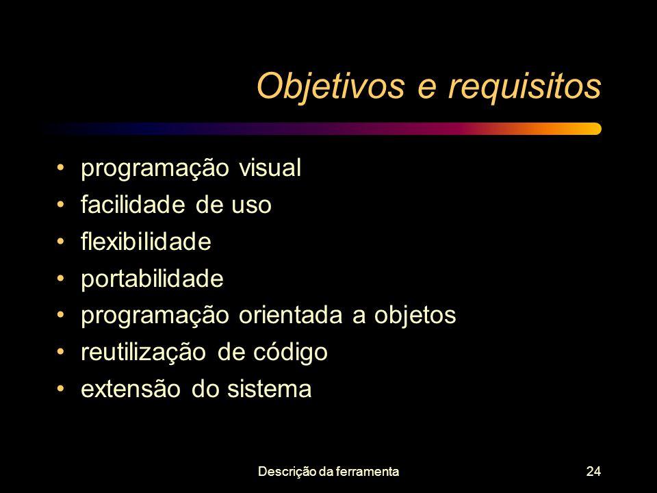 Descrição da ferramenta24 Objetivos e requisitos programação visual facilidade de uso flexibilidade portabilidade programação orientada a objetos reut