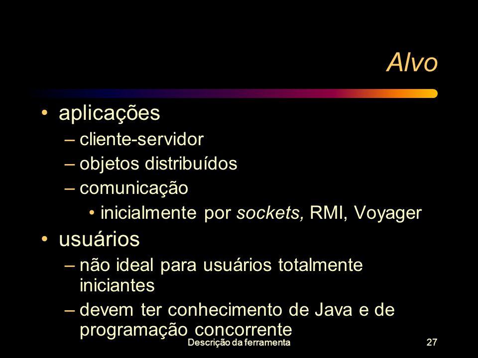 Descrição da ferramenta27 Alvo aplicações –cliente-servidor –objetos distribuídos –comunicação inicialmente por sockets, RMI, Voyager usuários –não id
