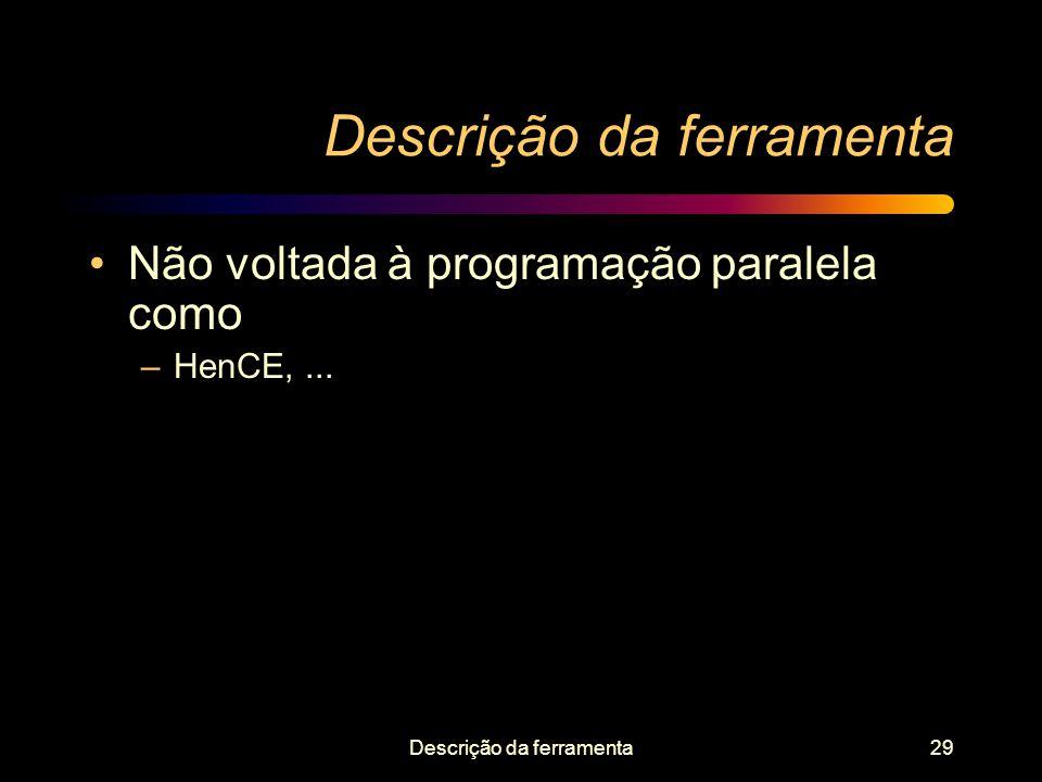 Descrição da ferramenta29 Descrição da ferramenta Não voltada à programação paralela como –HenCE,...