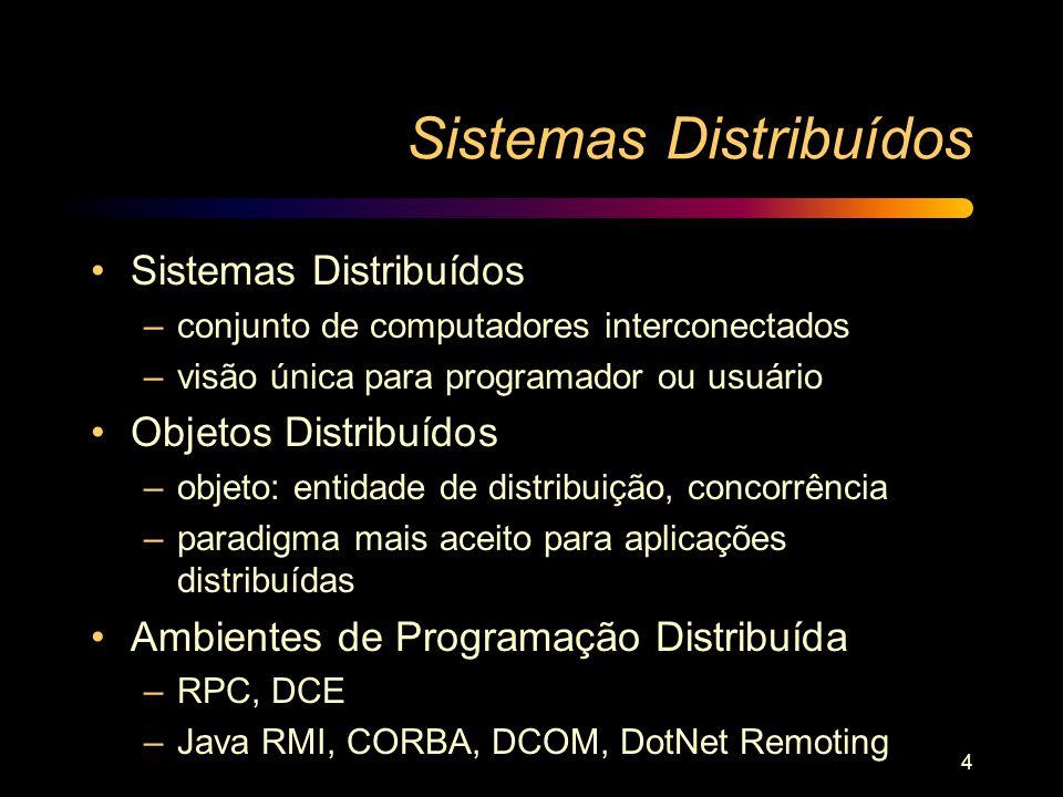 4 Sistemas Distribuídos –conjunto de computadores interconectados –visão única para programador ou usuário Objetos Distribuídos –objeto: entidade de d