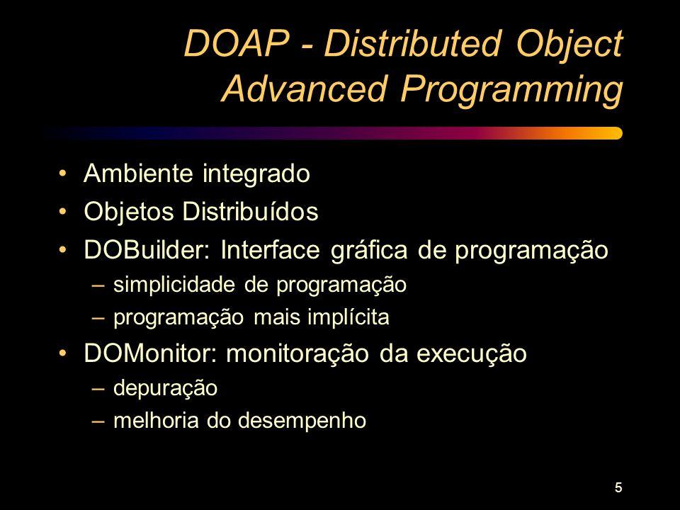 5 DOAP - Distributed Object Advanced Programming Ambiente integrado Objetos Distribuídos DOBuilder: Interface gráfica de programação –simplicidade de