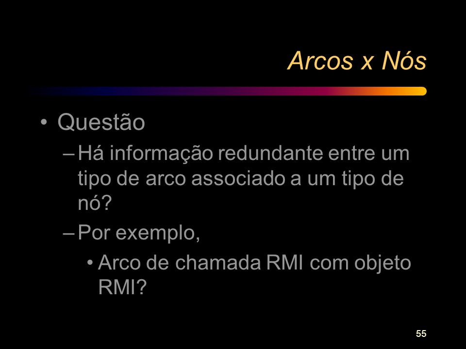 55 Arcos x Nós Questão –Há informação redundante entre um tipo de arco associado a um tipo de nó? –Por exemplo, Arco de chamada RMI com objeto RMI?