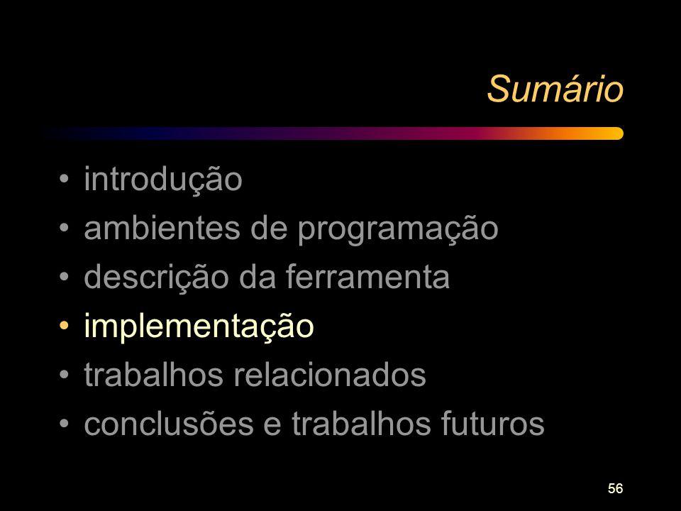 56 Sumário introdução ambientes de programação descrição da ferramenta implementação trabalhos relacionados conclusões e trabalhos futuros