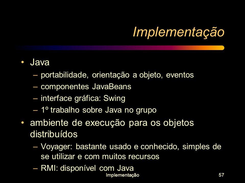 Implementação57 Implementação Java –portabilidade, orientação a objeto, eventos –componentes JavaBeans –interface gráfica: Swing –1º trabalho sobre Ja