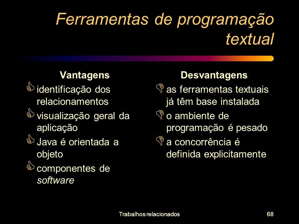 Trabalhos relacionados68 Ferramentas de programação textual Vantagens identificação dos relacionamentos visualização geral da aplicação Java é orienta