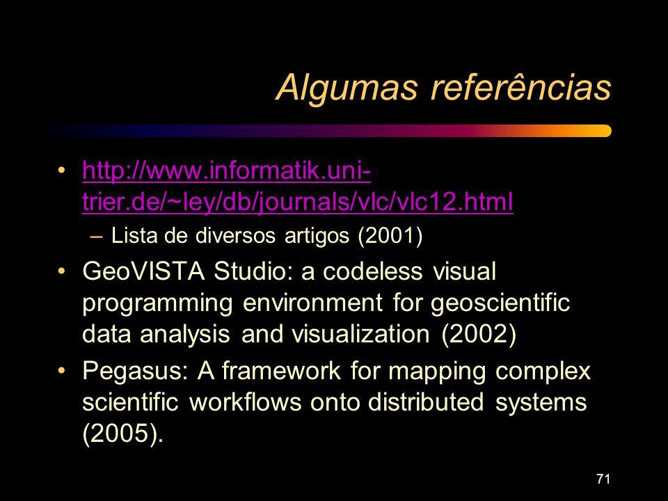 Algumas referências http://www.informatik.uni- trier.de/~ley/db/journals/vlc/vlc12.htmlhttp://www.informatik.uni- trier.de/~ley/db/journals/vlc/vlc12.
