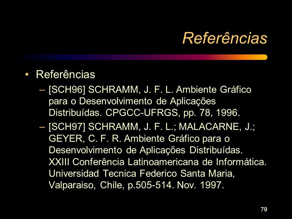 79 Referências –[SCH96] SCHRAMM, J. F. L. Ambiente Gráfico para o Desenvolvimento de Aplicações Distribuídas. CPGCC-UFRGS, pp. 78, 1996. –[SCH97] SCHR