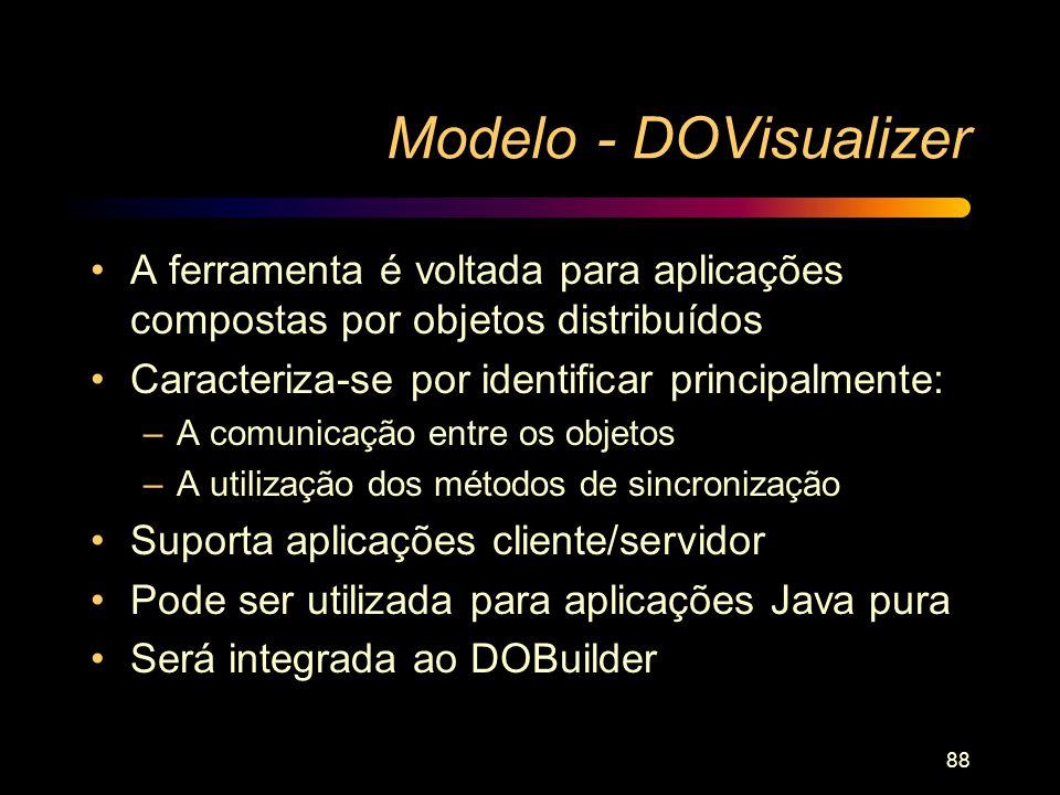 88 Modelo - DOVisualizer A ferramenta é voltada para aplicações compostas por objetos distribuídos Caracteriza-se por identificar principalmente: –A c