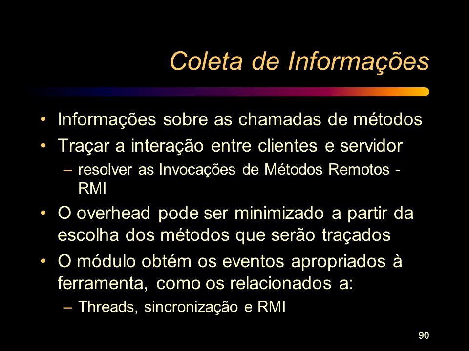 90 Coleta de Informações Informações sobre as chamadas de métodos Traçar a interação entre clientes e servidor –resolver as Invocações de Métodos Remo