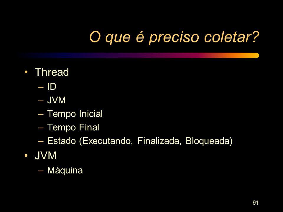 91 O que é preciso coletar? Thread –ID –JVM –Tempo Inicial –Tempo Final –Estado (Executando, Finalizada, Bloqueada) JVM –Máquina
