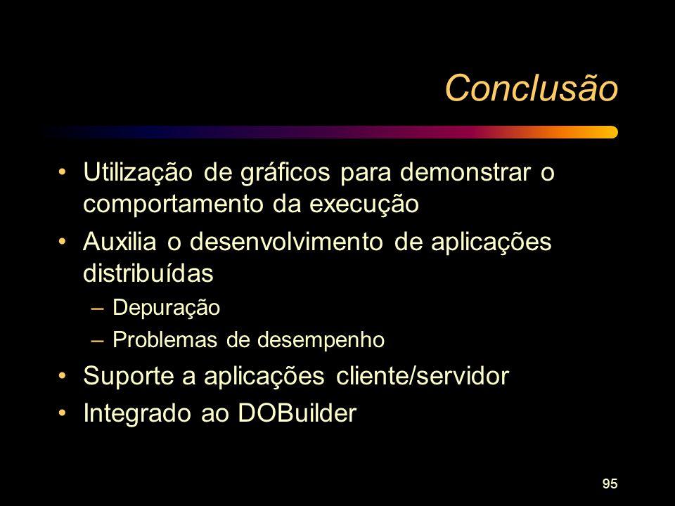 95 Conclusão Utilização de gráficos para demonstrar o comportamento da execução Auxilia o desenvolvimento de aplicações distribuídas –Depuração –Probl