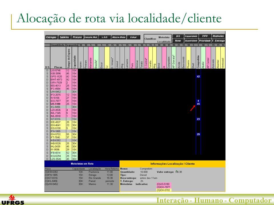 Porto Alegre, 29 de Junho de 2007 Interação - Humano - Computador Alocação de rota via localidade/cliente