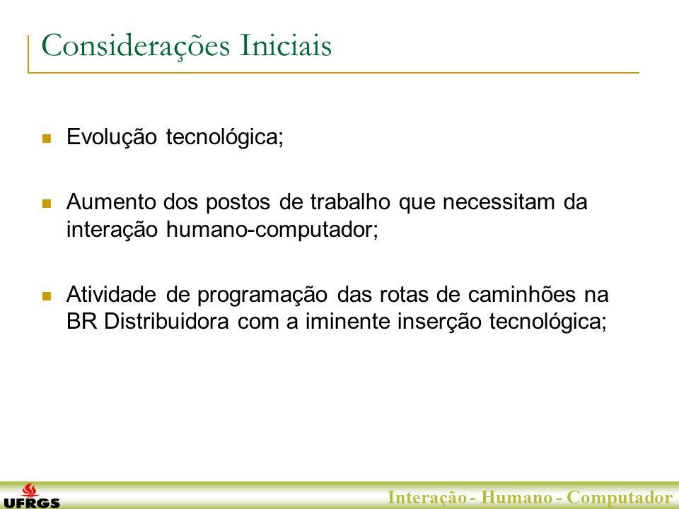 Porto Alegre, 29 de Junho de 2007 Interação - Humano - Computador Considerações Iniciais Evolução tecnológica; Aumento dos postos de trabalho que necessitam da interação humano-computador; Atividade de programação das rotas de caminhões na BR Distribuidora com a iminente inserção tecnológica;