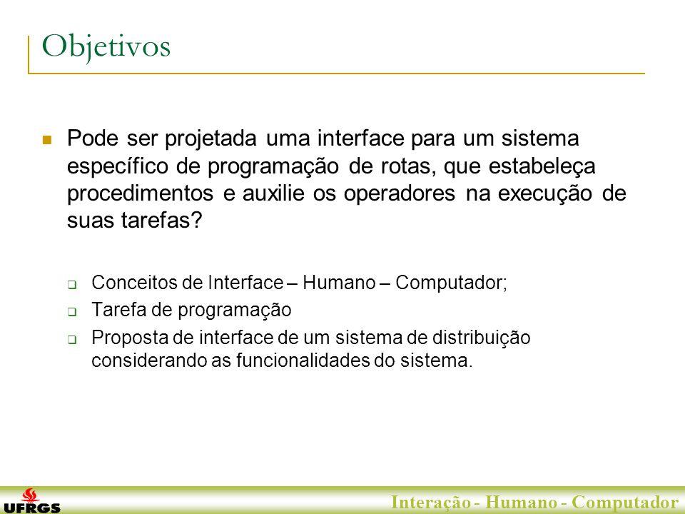 Porto Alegre, 29 de Junho de 2007 Interação - Humano - Computador Projeto da Interface Informações referentes às localidades Informações referentes aos veículos Botões funcionais Botões de classificação Informações referentes aos veículos em rota