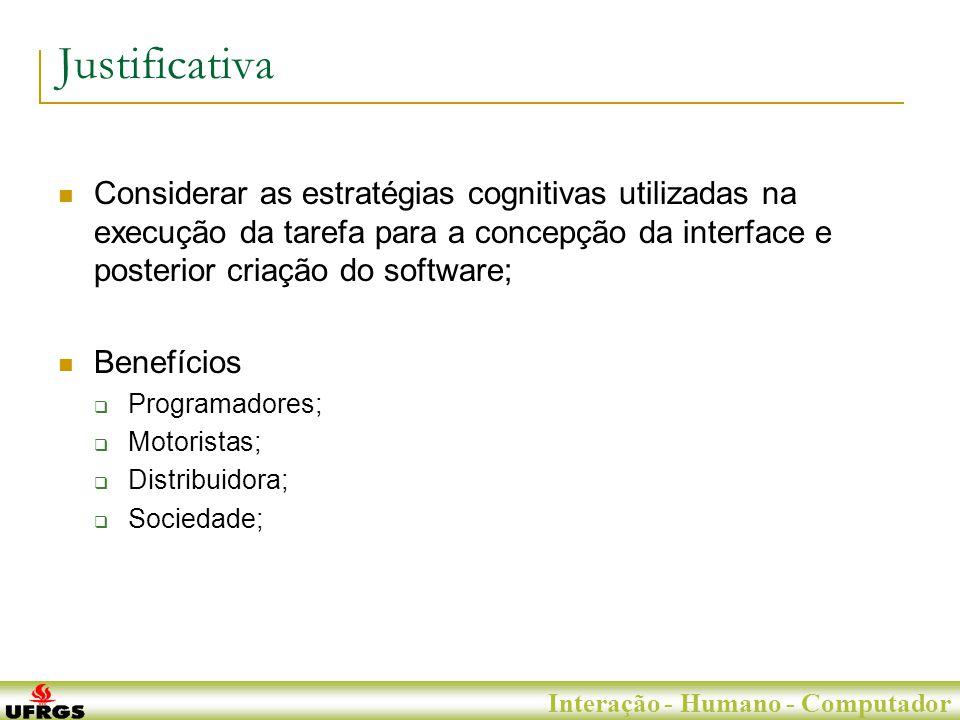 Porto Alegre, 29 de Junho de 2007 Interação - Humano - Computador Justificativa Considerar as estratégias cognitivas utilizadas na execução da tarefa para a concepção da interface e posterior criação do software; Benefícios Programadores; Motoristas; Distribuidora; Sociedade;