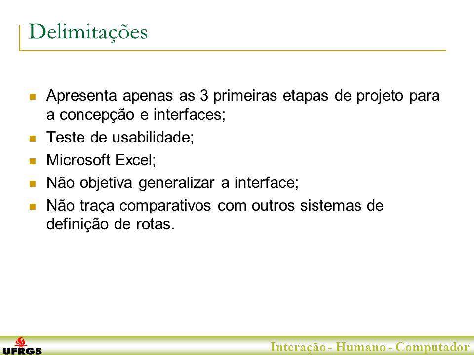 Porto Alegre, 29 de Junho de 2007 Interação - Humano - Computador Delimitações Apresenta apenas as 3 primeiras etapas de projeto para a concepção e interfaces; Teste de usabilidade; Microsoft Excel; Não objetiva generalizar a interface; Não traça comparativos com outros sistemas de definição de rotas.