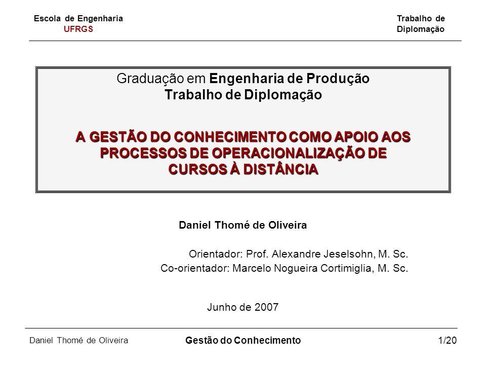 Escola de Engenharia UFRGS Trabalho de Diplomação Daniel Thomé de Oliveira Gestão do Conhecimento12/20 Procedimentos Metodológicos Natureza do trabalho: pesquisa-ação.