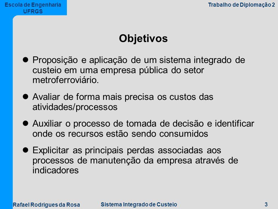 3Sistema Integrado de Custeio Escola de Engenharia UFRGS Trabalho de Diplomação 2 Rafael Rodrigues da Rosa Objetivos Proposição e aplicação de um sistema integrado de custeio em uma empresa pública do setor metroferroviário.