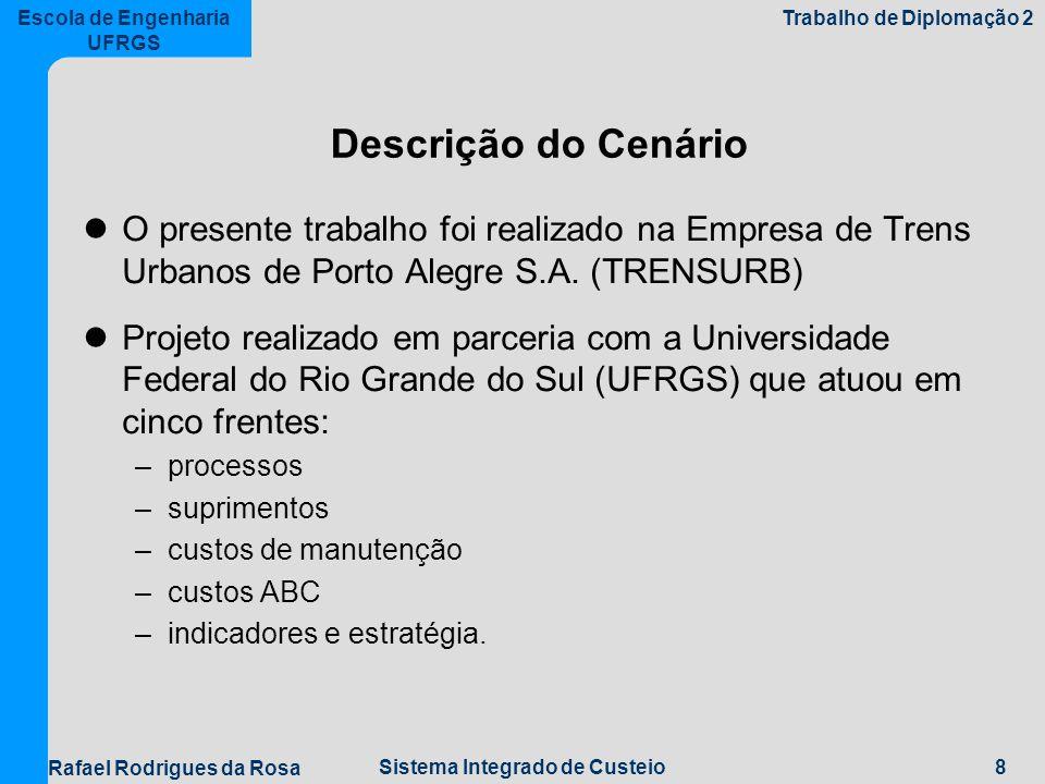8Sistema Integrado de Custeio Escola de Engenharia UFRGS Trabalho de Diplomação 2 Rafael Rodrigues da Rosa Descrição do Cenário O presente trabalho foi realizado na Empresa de Trens Urbanos de Porto Alegre S.A.