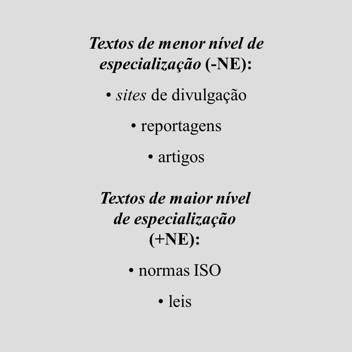 Textos de menor nível de especialização (-NE): sites de divulgação reportagens artigos Textos de maior nível de especialização (+NE): normas ISO leis