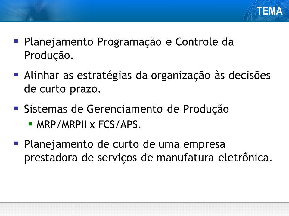TEMA Planejamento Programação e Controle da Produção.