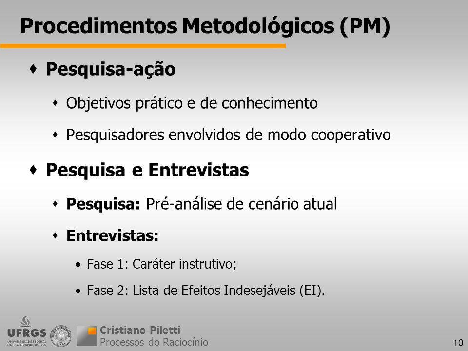 10 Procedimentos Metodológicos (PM) Processos do Raciocínio Cristiano Piletti Pesquisa-ação Objetivos prático e de conhecimento Pesquisadores envolvidos de modo cooperativo Pesquisa e Entrevistas Pesquisa: Pré-análise de cenário atual Entrevistas: Fase 1: Caráter instrutivo; Fase 2: Lista de Efeitos Indesejáveis (EI).