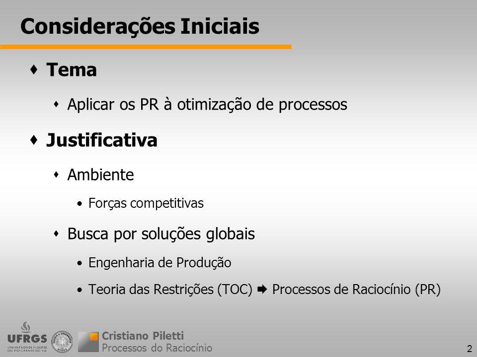 2 Considerações Iniciais Tema Aplicar os PR à otimização de processos Justificativa Ambiente Forças competitivas Busca por soluções globais Engenharia de Produção Teoria das Restrições (TOC) Processos de Raciocínio (PR) Processos do Raciocínio Cristiano Piletti