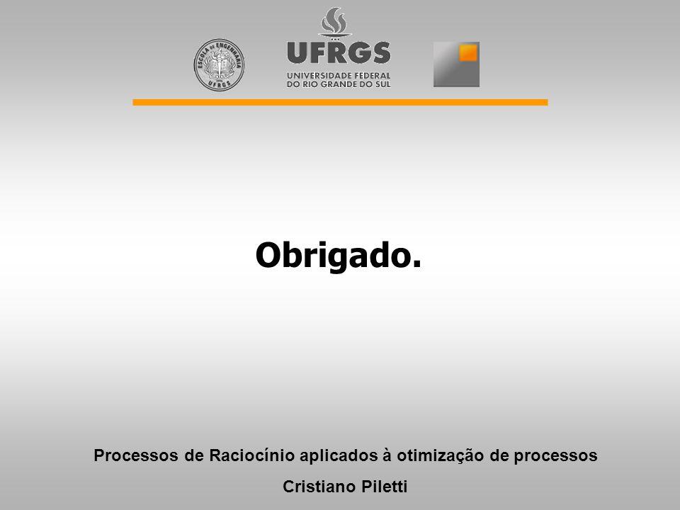 Obrigado. Processos de Raciocínio aplicados à otimização de processos Cristiano Piletti