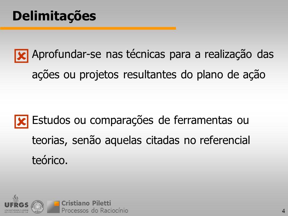 4 Delimitações Aprofundar-se nas técnicas para a realização das ações ou projetos resultantes do plano de ação Estudos ou comparações de ferramentas ou teorias, senão aquelas citadas no referencial teórico.